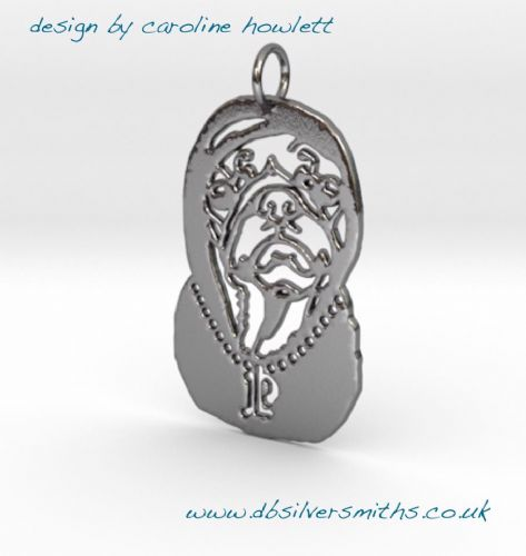 Pug Capone pendant sterling silver handmade by saw piercing Caroline Howlett Design